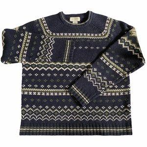 J Crew Lambswool Fair Isle Snowflake Sweater SZ L